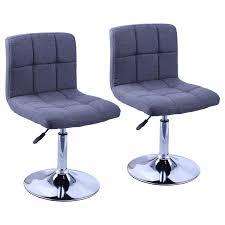 Duhome Elegant Lifestyle 2er Set Moderner Esszimmerstuhl Stoff Leinen Küchenstuhl Höhenverstellbar Drehbar Stuhl Farbauswahl Typ 451n Grau
