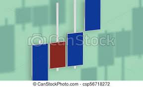 Market Chart With Color Bars 3d Rendering On Dof Green Background