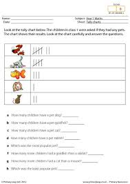 Numeracy Tally Charts Pets In Class 1 Worksheet