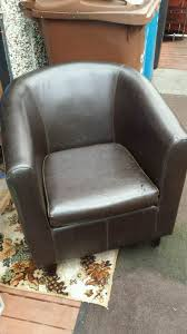 faux leather large tub chair