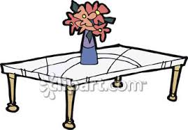 coffee table clipart black and white. clipart image of a coffee table with vase flowers - royalty free picture black and white u