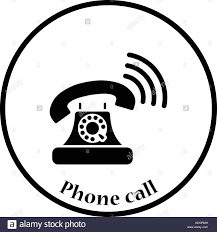 Old Telephone Design Old Telephone Icon Thin Circle Design Vector Illustration
