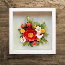 red peony daisy dandelion ladybug wall