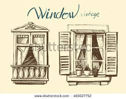 vintage window drawing. vintage window. vector sketch window drawing o