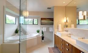 master bathroom with built in bathtub