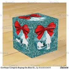 cowboys cows roping on blue gift favor box western tree cowboy