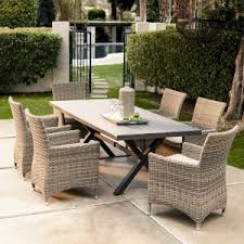 outdoor dining sets for 6. Plain Dining Belham Living Bella All Weather Wicker 7 Piece Patio Dining Set  Seats 6 Inside Outdoor Sets For O