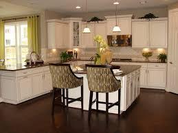 Kitchen: Antique White Kitchen Cabinet And Kitchen Island With Dark  Hardwood Floor   Antiquing White
