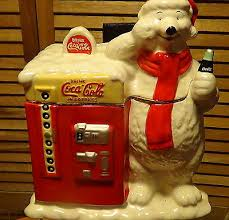 Coke Polar Bear In Bottle Vending Machine Unique COCA COLA Ceramic Coke Machine Cookie Jar Dated 48 By Gibson
