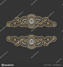 Label Design Templates Two Flourishes Beer Label Design Templates Hops Linear Style Vector