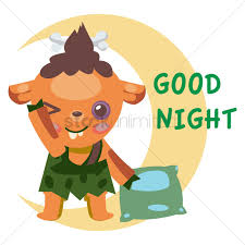 free tribal cartoon character saying good night vector graphic