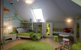 attic bedroom furniture. Bedroom : Green Kids Room With Fluffy Rug And Comfort Bend Near White Wall Shelves Cornered Bench Seat Table Under Sloping Attic Furniture