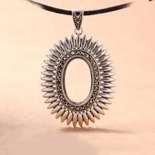 vine oval sunflower solid 925 sterling silver diy pendant setting