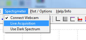 start live data acquisition by using run acquisition from the spectrometer menu you will now see the spectrum plot continously updating