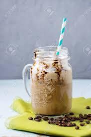 Glass Mason Jar With Ice Coffee With Whipped Cream Ice Cream