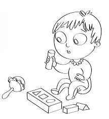 Disegno Per Bambini Da Colorare Gratis Neonato Giochi Sonaglio Cubi