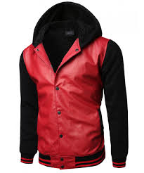 men s varsity wool and faux leather contrast stadium jacket