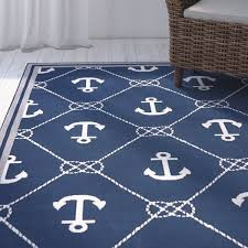 navy blue and white area rugs. perfect rugs breakwater bay mariam anchor navywhite indooroutdoor area rug u0026 reviews   wayfair on navy blue and white rugs t
