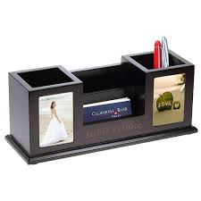 wooden pencil cups with picture frames card holder desk set