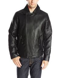 sean john men s faux leather zip front moto jacket with sherpa collar yf28221 new look