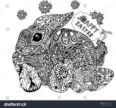 Hand-painted patterns with Easter Bunny vector illustration. Farm animals,  Vintage engraving style