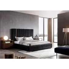 Bedroom furniture in black Gothic Modrest Evonda Modern Black Velvet Brass Bed La Furniture Store Modern Bedroom Modern Contemporary Bedroom Set Italian Platform