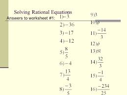 23 solving rational equations answers to worksheet 1