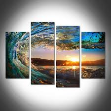waves at sunset sunrise multi panel wall art canvas