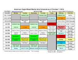 Class Schedule American Eagle Mma Kettlebells