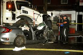 Speeding car slams into DOT truck and cab in Murray Hill, critically ...