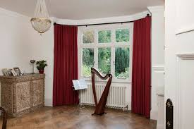 image of long curtains for bay windows