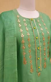 Patti Design Turquoise Chanderi Gota Patti Kurta And Block Print Tussar