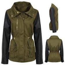 image is loading new womens contrast green military jacklet parka faux
