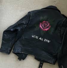 jacket leather jacket black black leather jacket roses black jacket