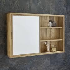 Sliding Door 80cm Wide Solid Oak Mirror Bathroom Cabinet and Shelves