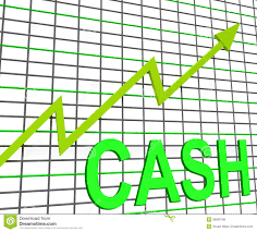 Chart Showing Increase Cash Chart Graph Shows Increase Wealth Stock Illustration