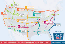 us map showing the 11 cross country road trips on roadtripusa