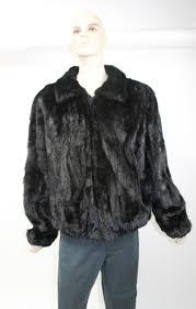 preowned mens black mink fur sections er jacket coat stroller 6xl label