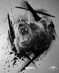 фото эскизы медведь в стиле авторский татуировки на боку