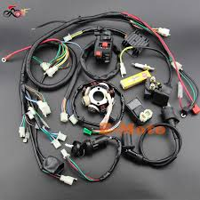 buggy wiring harness loom gy6 engine 125 150cc quad atv electric start stator 8 coil ngk