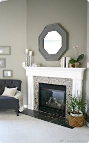 thrifty decor quick mantel redo home decor tile around fireplacefireplace redofireplace designmosaic