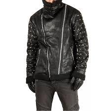 men s fur lining stud sleeves diagonal zipper jacket zoom men s