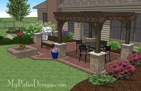 patio designs with fire pit. Traditional Brick Patio Design With Pergola And Fire Pit   Download Plan \u2013  MyPatioDesign.com Patio Designs Fire Pit