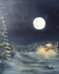 moon on the snow 3 10 x 8 original oil painting on canvas of