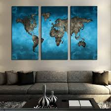 3 panel blue vintage world map canvas