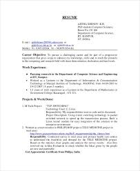 Computer Science Resume Objective Alluring B Sc Computer Science