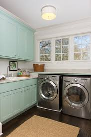 Laundry room lighting Chandelier General Or Ambient Lighting Can Be Achieved Through Natural Light Flush Mounts Semiflush Mounts And Recessed Lighting Transitional Laundry Room Yale Appliance Blog How To Light Your Laundry Room