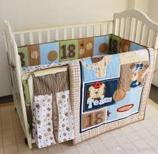 baby bedding set embroidered bear baseball combination crib bedding set quilt per bed skirt diaper bag cot bedding set girls bedding sets toddler bedding