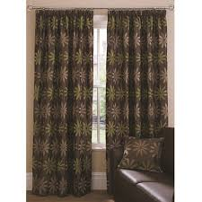 knightsbridge jacquard pattern lined pleated curtains green