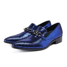 Royal Blue Designer Shoes 2018 Menss Royal Blue Luxury Party Wedding Men Shoes Italian Genuine Leather Formal Shoes Slip On Business Dress Shoes Size 38 47 Cheap Shoes For Men